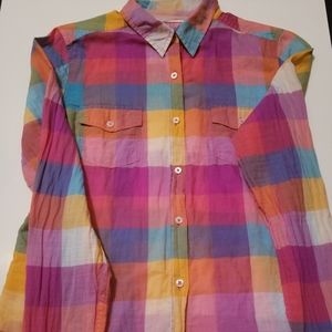 We are selling a button down shirt with plaid.